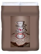 Trio Of Valentine Tea Cups  Duvet Cover