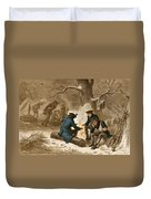 Troops At Valley Forge Duvet Cover