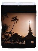 Tropical Church In Silhouette Duvet Cover