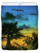 Tropical Sunset With Pelicans Duvet Cover
