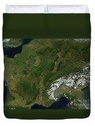 True-color Satellite View Of France Duvet Cover