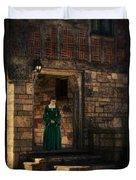 Tudor Lady In Doorway Duvet Cover