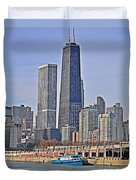 Tugboat On The Chicago River Duvet Cover