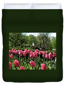Tulips And Fountain Duvet Cover