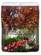 Tulips By Dappled Fence Duvet Cover