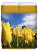 Tulips In A Field And A Windmill At Duvet Cover