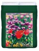 Tulips On Beautiful Bokeh Duvet Cover
