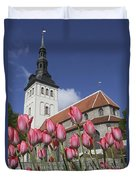Tulips Outside Niguliste Church Duvet Cover