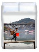 Tuojiang River In Fenghuang Duvet Cover