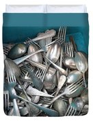Turquoise Box Of Silverware Duvet Cover