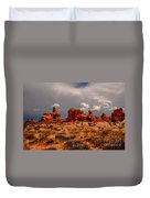 Turret Arch And Storm Clouds Duvet Cover