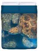Turtle Underwater,high Angle View Duvet Cover