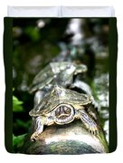 Turtles In A Row Duvet Cover