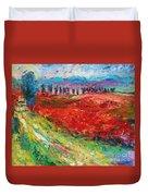 Tuscany Italy Landscape Poppy Field Duvet Cover