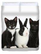 Tuxedo Kittens With Dutch Rabbit Duvet Cover