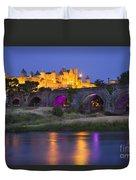 Twilight Over Carcassonne Duvet Cover