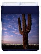 Twilight View Of A Saguaro Cactus Duvet Cover