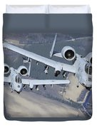 Two A-10c Thunderbolt II Aircraft Fly Duvet Cover