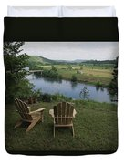 Two Adirondack Chairs On A Scenic Duvet Cover