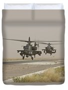 Two Ah-64 Apache Helicopters Prepare Duvet Cover
