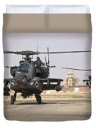 Two Ah-64 Apache Helicopters Return Duvet Cover