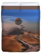 Two Aircraft Fly Over Domes Duvet Cover