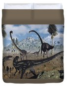 Two Allosaurus Predators Plan Duvet Cover