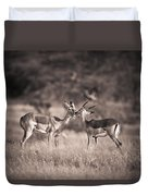 Two Antelopes Together In A Field Duvet Cover