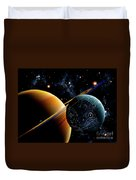 Two Artificial Moons Travelling Duvet Cover