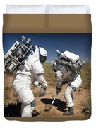 Two Astronauts Collect Soil Samples Duvet Cover by Stocktrek Images