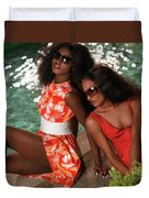 Two Beautiful Women In Dresses At The Pool Duvet Cover by Oleksiy Maksymenko