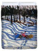 Two Boys Falling Off A Sledge Duvet Cover
