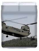 Two Ch-47 Chinook Helicopters In Flight Duvet Cover
