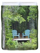 Two Chairs Sit At A Lakeside Camp Duvet Cover