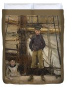 Two Children On Deck Duvet Cover