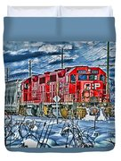 Two Cp Rail Engines Hdr Duvet Cover
