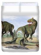 Two Cryolophosaurus Ellioti Dinosaurs Duvet Cover