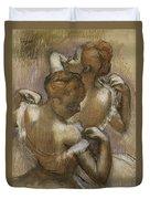 Two Dancers Adjusting Their Shoulder Straps Duvet Cover