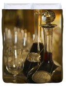 Two Decanters Of Port Wine And Glasses Duvet Cover