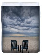 Two Deck Chairs At Sunrise On The Beach Duvet Cover