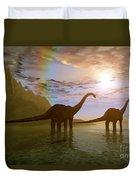 Two Diplodocus Dinosaurs Wade Duvet Cover