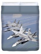 Two Fa-18 Hornets And Two F-15 Strike Duvet Cover