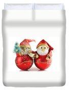 Two Father Christmas Decorations Duvet Cover