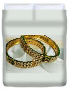 Two Green And Gold Bangles On Top Of Each Other Duvet Cover