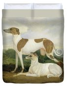 Two Greyhounds In A Landscape Duvet Cover