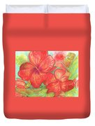 Two Hibiscus Blossoms Duvet Cover