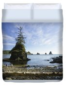 Two Hikers Walk On Beach With Sea Duvet Cover