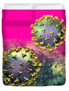 Two Hiv Particles On Hot Pink Duvet Cover