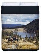 Two Horsemen Ride Above Pecos Baldy Duvet Cover