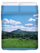Two Horses Grazing In A Field Duvet Cover